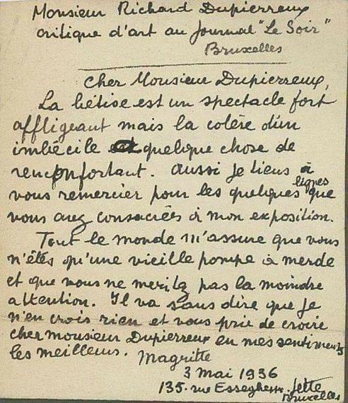 La lettre de René Magritte à Richard Dupierreux